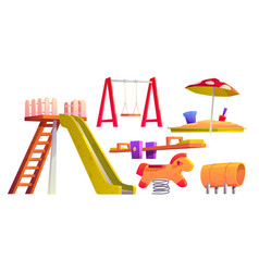 kids playground with slide sandbox and swing vector image