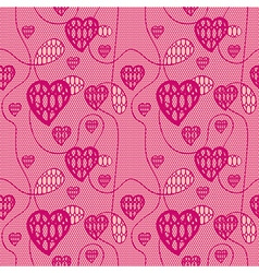 Lace seamless pattern with hearts vector