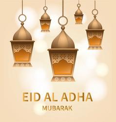 lantern eid al adha concept background realistic vector image