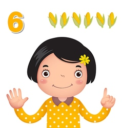 Learn number and counting number six vector