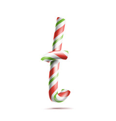 Letter t 3d realistic candy cane alphabet vector