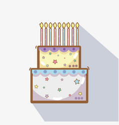 Line delicious cake happy birthday celebration vector