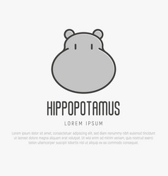 Logo with head of hippo in thin line style vector