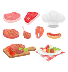 Meat types beef and chicken vector
