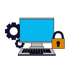 monitor keyboard setting security vector image
