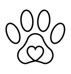 pet paw print cat dog man friend pet paw vector image