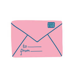 pink retro mail envelope with stamp vector image