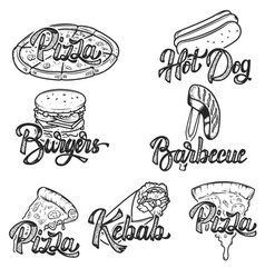 Pizza barbecue kebab hot dog burgers set of hand vector