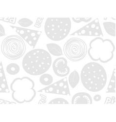 pizza ingredients simple seamless pattern white vector image