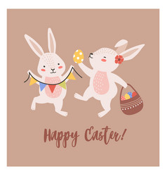 postcard template with pair of lovely bunnies or vector image