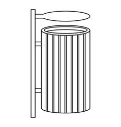 Public litter bin icon outline style vector image
