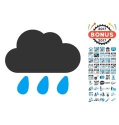 Rain Cloud Icon With 2017 Year Bonus Symbols vector image