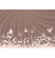 Rays with floral vector