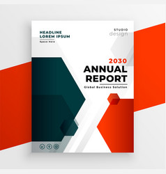 red business template annual report flyer design vector image