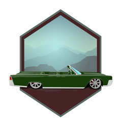 Retro gangster car car icons in flat classic vector