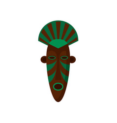 Ritual wooden voodoo mask painted with green color vector