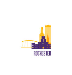 rochester city emblem colorful buildings vector image