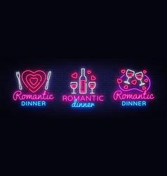Romantic dinner neon logo collection wine vector