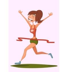 Running smiling girl Girl runner winning marathon vector