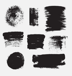 Set hand drawn paint brush strokes and stains vector