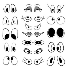 set of pairs of caricature eyes vector image