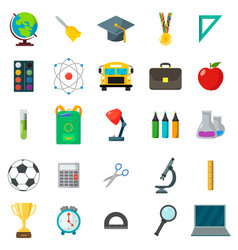Set of school icons cartoon and flat style white vector