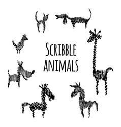 Set scribble animals vector