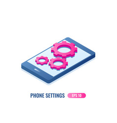 Settings on smartphone screen vector