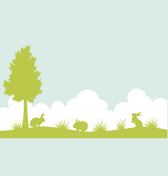 Silhouette of bunny on the hill landscape vector