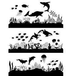 Silhouette sea coral reef oceanic animal set vector