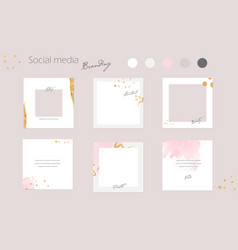 Social media templet pink pastel and gold vector