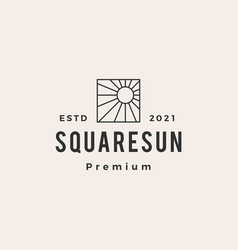 square sun hipster vintage logo icon vector image