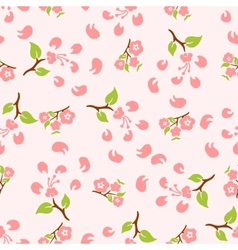 stylized flowers and leaves cherry vector image