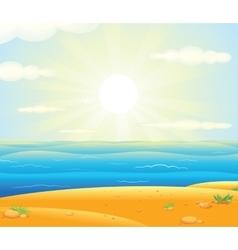 Sunrise over the Tropical Beach vector