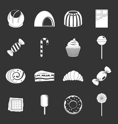 Sweets and candies icons set grey vector