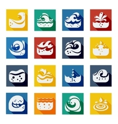 Swirling Wave Color Icons Set vector image