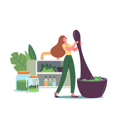 Tiny woman grind plants and natural ingredients vector
