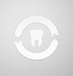 Two arrows in a circle around the tooth vector image