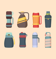 Vacuum flask steel mug and thermos for water vector