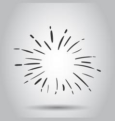 vintage sunburst icon sun sketch burst doodle vector image