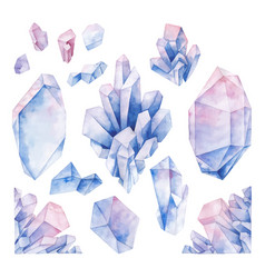 Watercolor pastel colored crystals vector