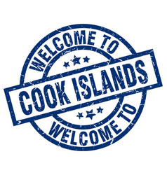 Welcome to cook islands blue stamp vector