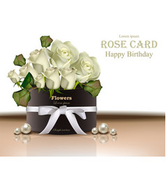 White roses flowers bouquet card realistic vector