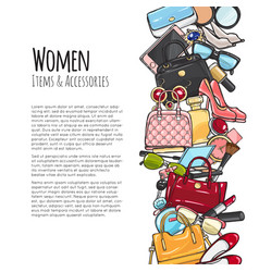 women items and accessories colourful objects vector image