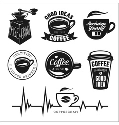 Coffee related posters labels badges and design vector image vector image