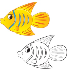 fish coloring book vector image vector image
