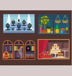 flat design restaurant shops facade vector image