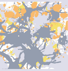 orange yellow grey ink splashes background square vector image vector image