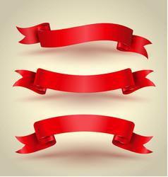 red ribbon banner set vector image