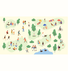 various people at park performing leisure outdoor vector image